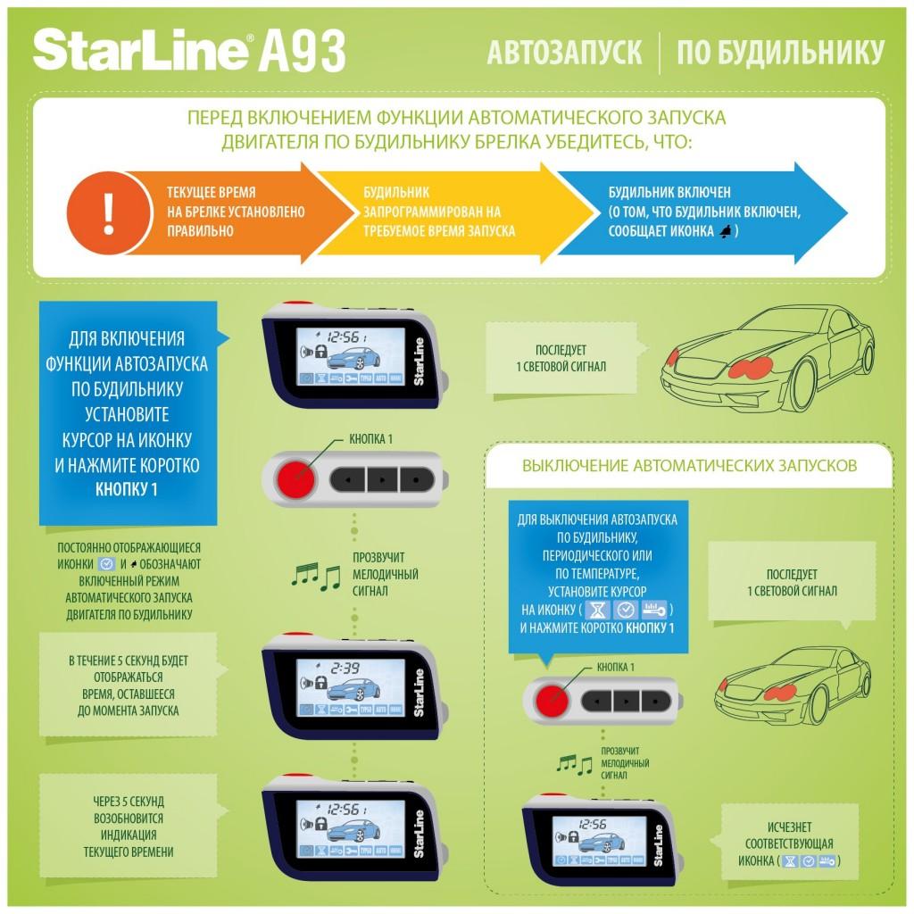 Старлайн А93 автозапуск по будильнику