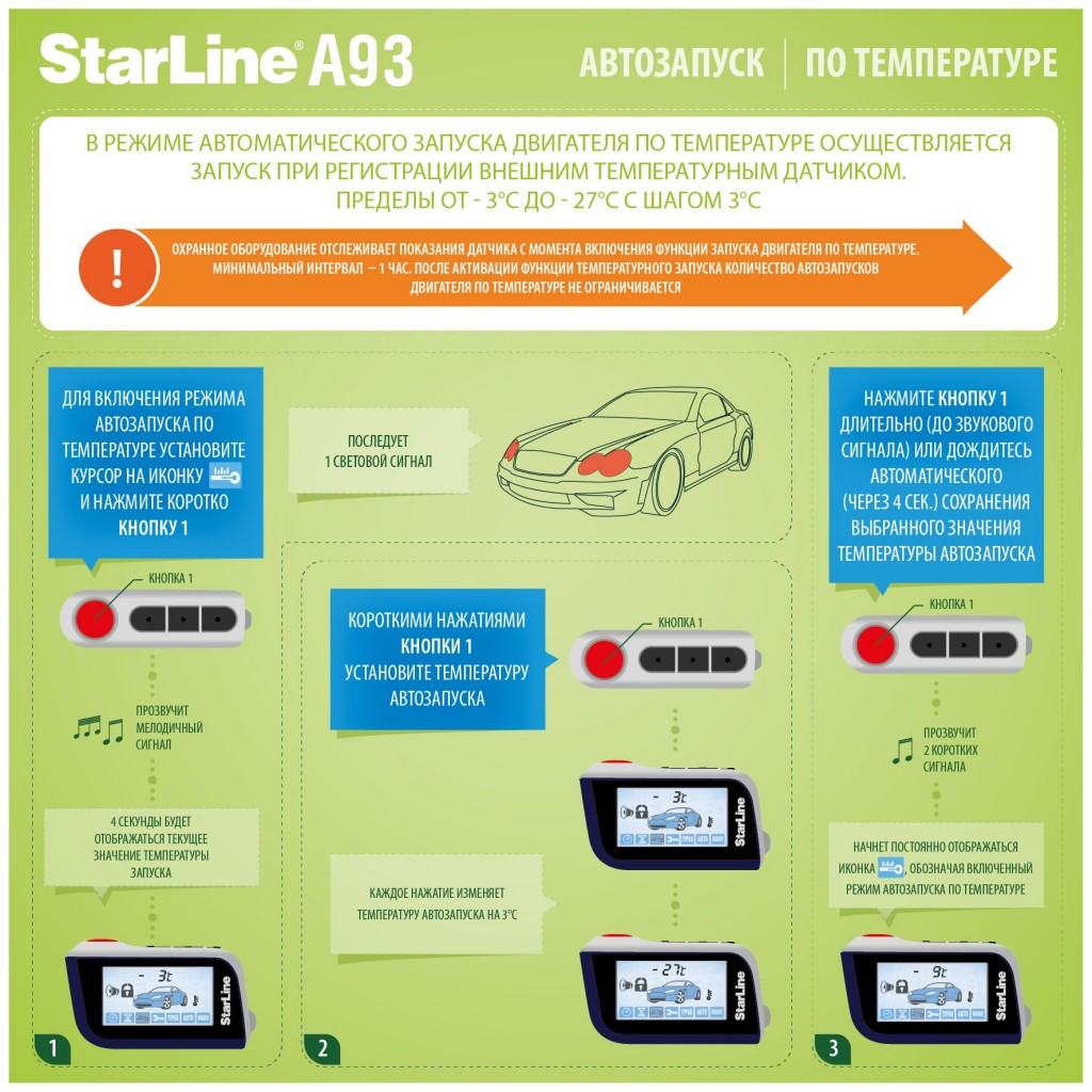 Старлайн А93 запуск по температуре